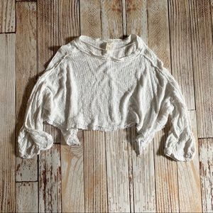 Free People Cropped Ivory Sweater